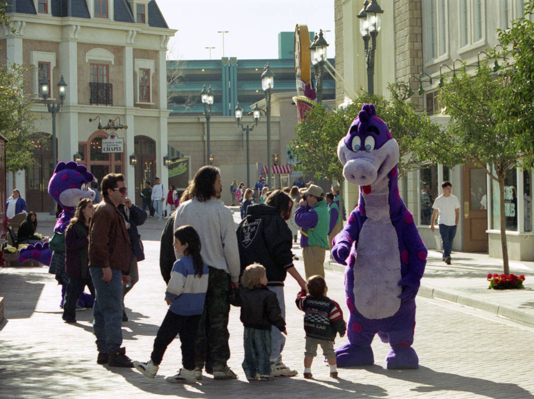 Visitors with costumed characters at MGM Grand Adventures Theme Park. The park opened to the public on Dec. 18, 1993. (Las Vegas Review-Journal file)