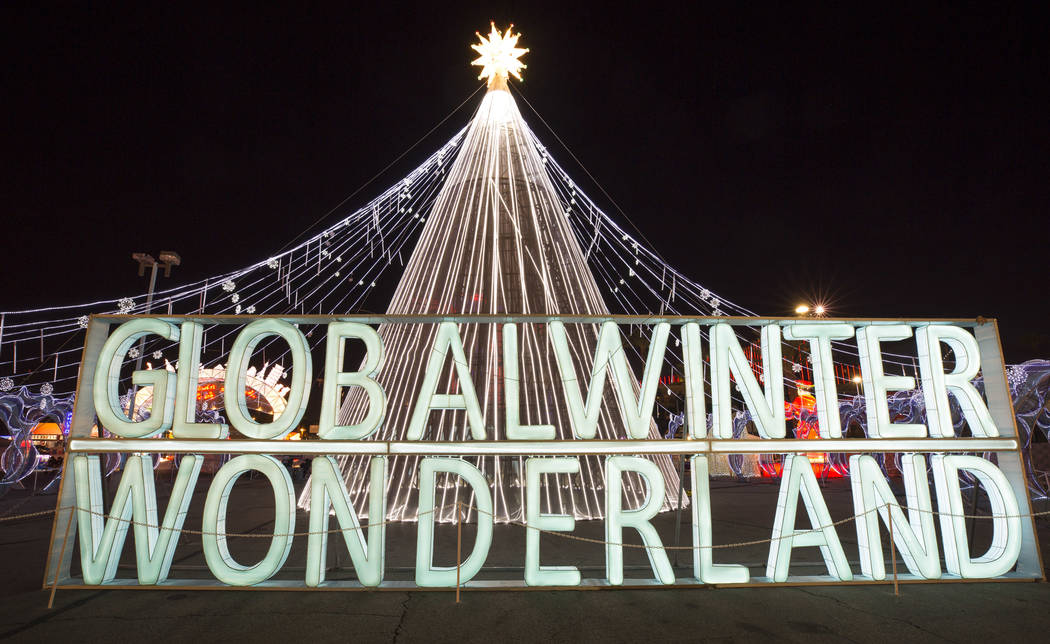A sign welcomes guests at the entrance to the Global Winter Wonderland lantern festival at the Rio in Las Vegas on Wednesday, Dec. 19, 2018. Richard Brian Las Vegas Review-Journal @vegasphotograph
