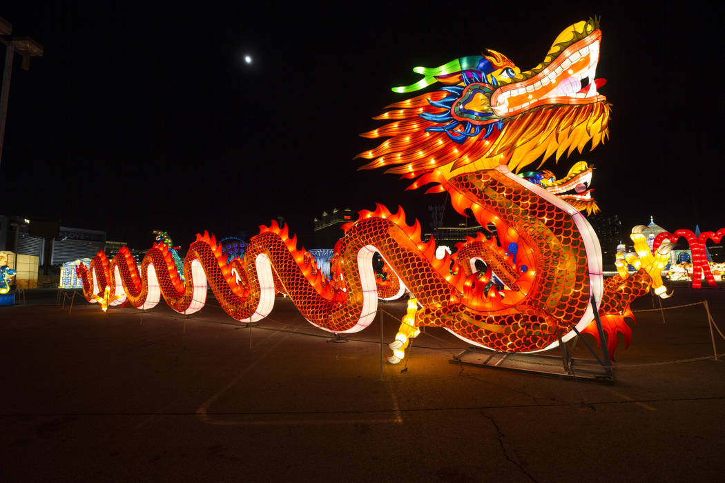 Twin dragons on display at the Global Winter Wonderland lantern festival at the Rio in Las Vegas on Wednesday, Dec. 19, 2018. Richard Brian Las Vegas Review-Journal @vegasphotograph