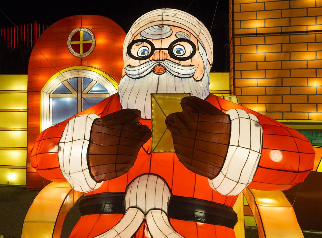 An illuminated Santa Claus lantern on display at the Global Winter Wonderland lantern festival at the Rio in Las Vegas on Wednesday, Dec. 19, 2018. Richard Brian Las Vegas Review-Journal @vegaspho ...