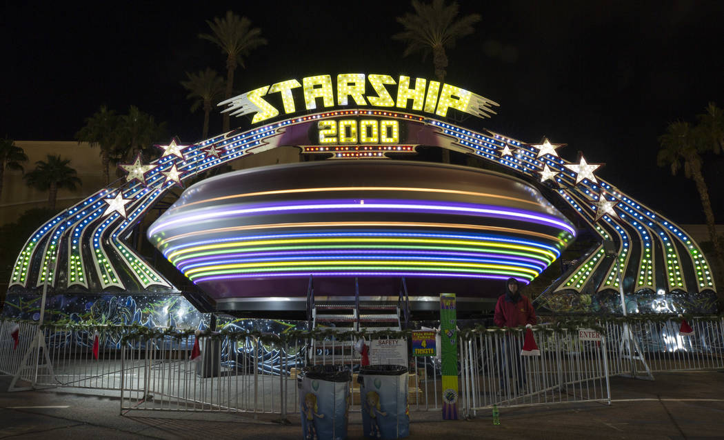 Thrill-seekers take a spin on the Starship 2000 carnival ride at the Global Winter Wonderland lantern festival at the Rio in Las Vegas on Wednesday, Dec. 19, 2018. Richard Brian Las Vegas Review-J ...