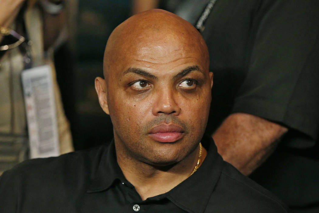 In this May 2, 2015, file photo, Charles Barkley joins the crowd before the start of the world welterweight championship bout between Floyd Mayweather Jr. and Manny Pacquiao in Las Vegas. (AP Pho ...