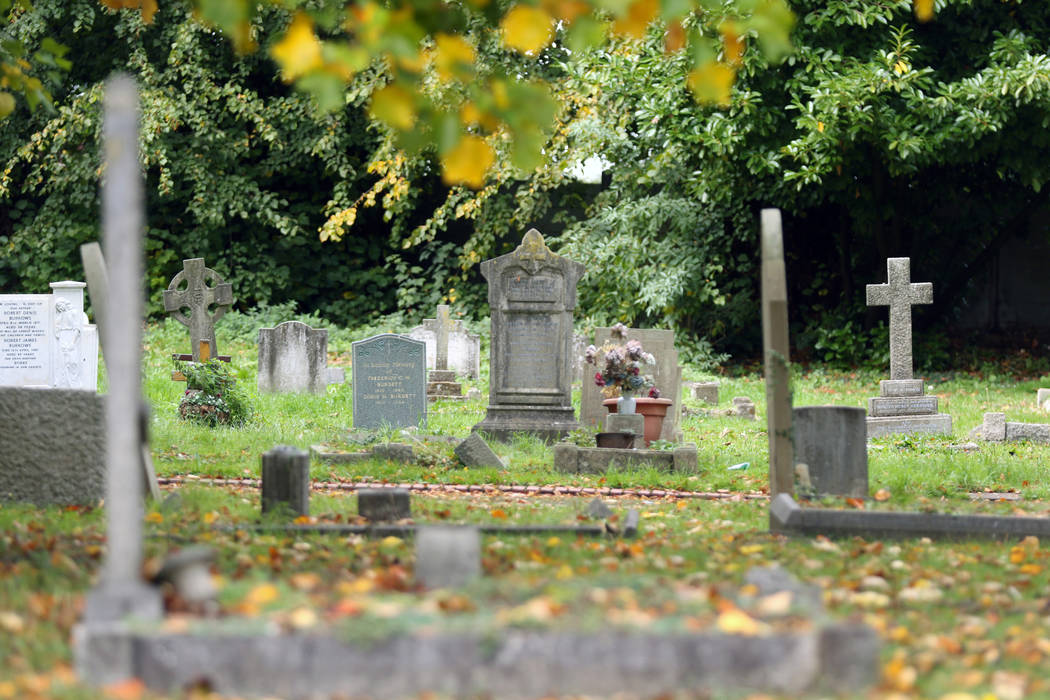 St. Mary Cray cemetery, originally open land which served as the first pitch the Cray Wanderers football club played on, in London, England, Friday, Oct. 12, 2018. Heidi Fang Las Vegas Review-Jour ...