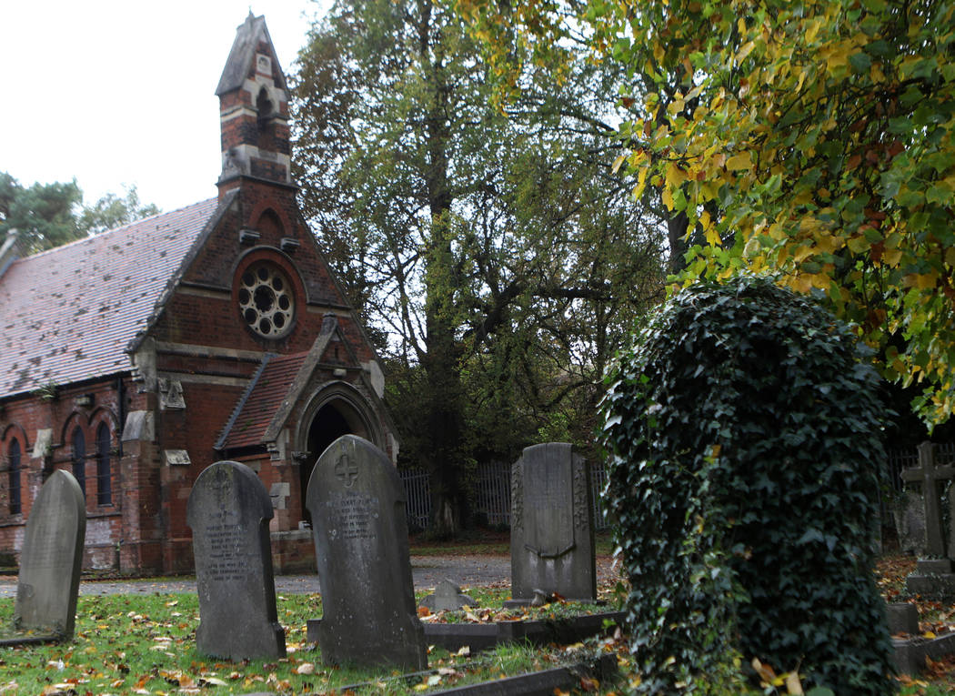 The Mortuary chapel at the St Mary Cray cemetery, which used to be the pitch the Cray Wanderers played on, in London, England, Friday, Oct. 12, 2018. Heidi Fang Las Vegas Review-Journal @HeidiFang