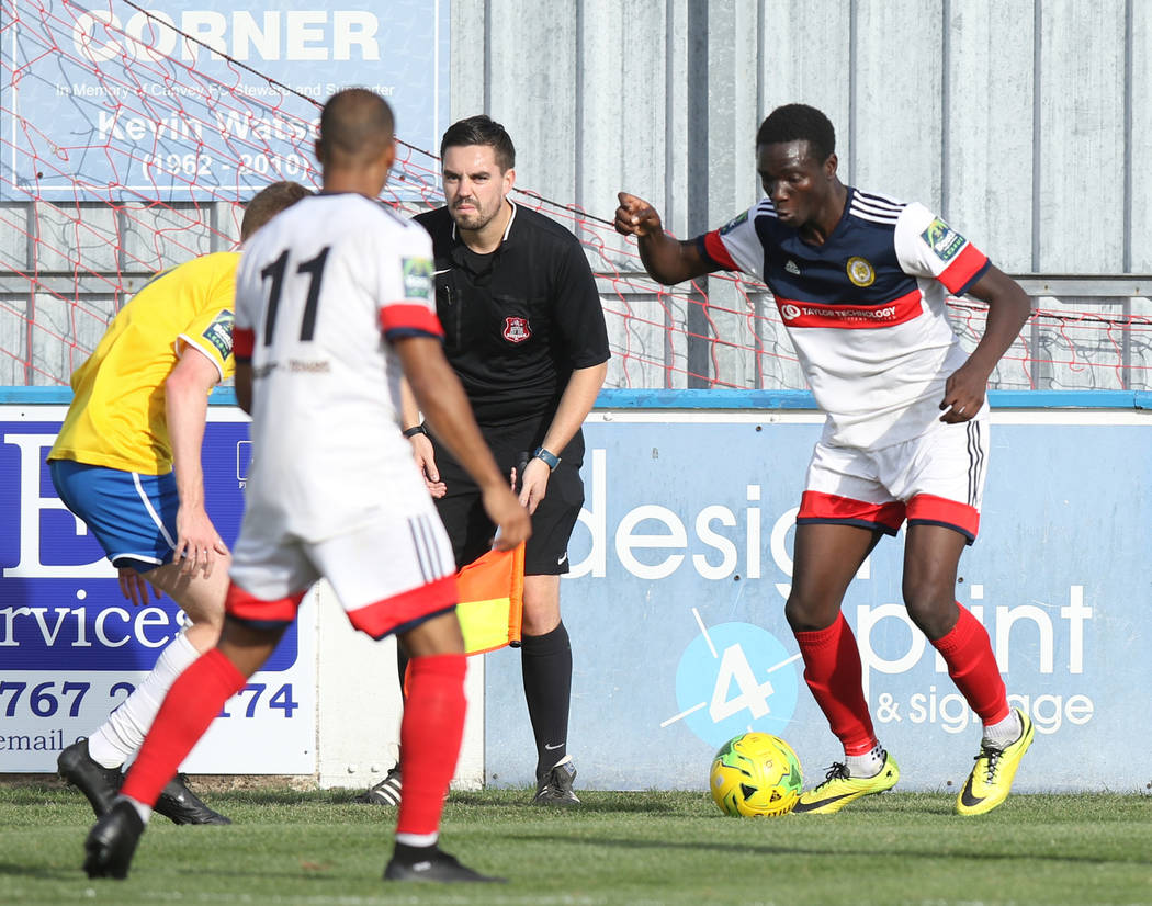 Cray Wanderers winger Malik Solebo (8) handles the soccer ball against against the Canvey Island Gulls in Canvey Island, Essex, England, Saturday, Oct. 13, 2018. Heidi Fang Las Vegas Review-Journa ...