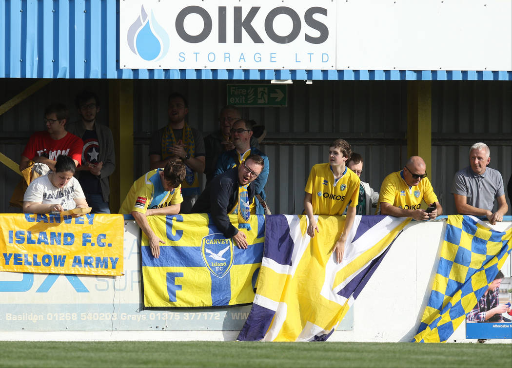 Fans dubbed the Yellow Army support the Canvey Island Gulls against the Cray Wanderers in Canvey Island, Essex, England, Saturday, Oct. 13, 2018. Heidi Fang Las Vegas Review-Journal @HeidiFang