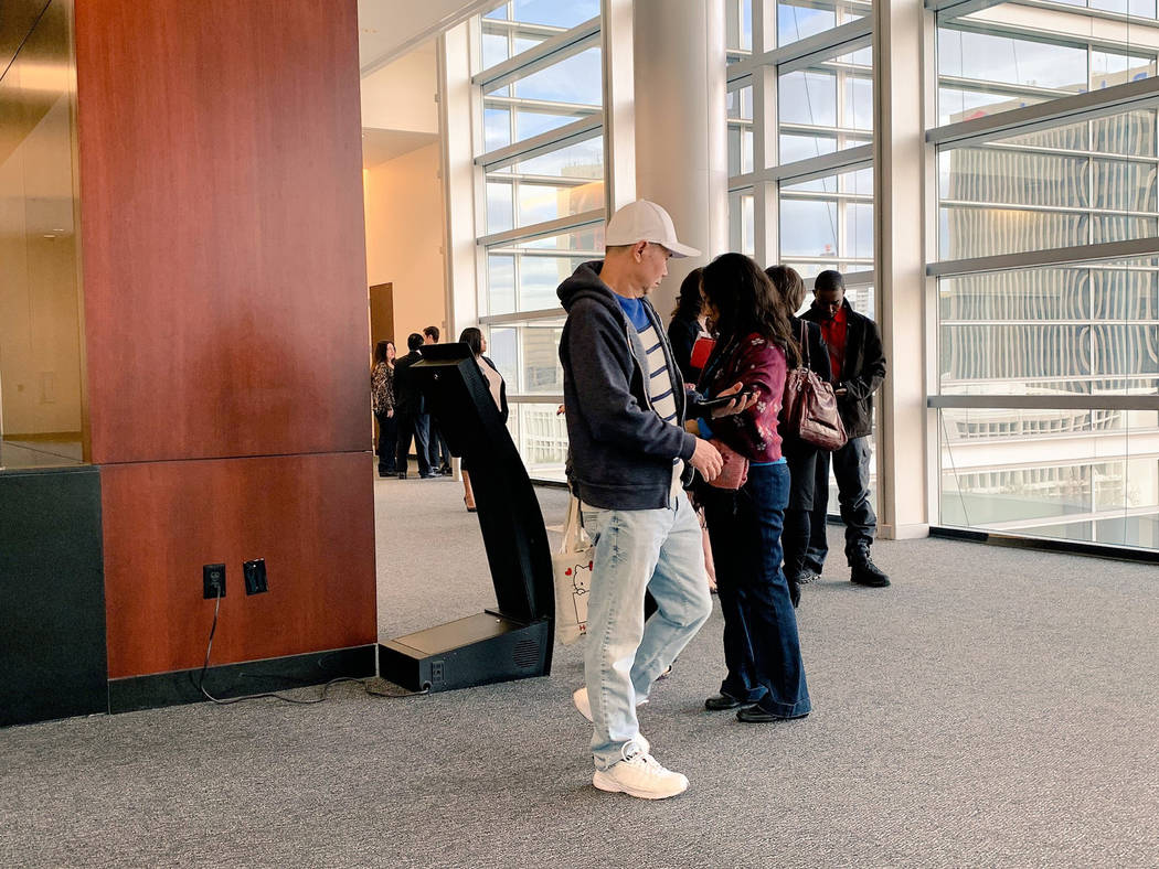 Wynn dealers wait for their hearing to begin Monday, Dec. 17, 2018, in Federal Court in Las Vegas. (Todd Prince/Las Vegas Review-Journal)