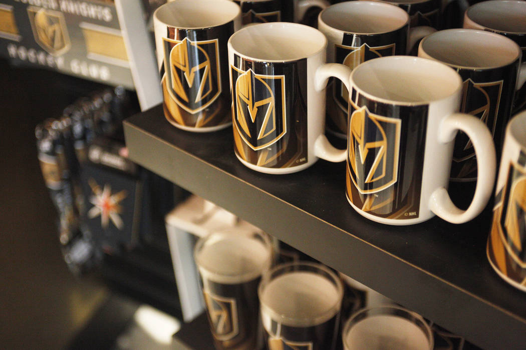 Mugs for sale at the Vegas Golden Knights team store, called the Armory, at the T-Mobile Arena on Monday, June 19, 2017, in Las Vegas. The Armory opens Tuesday at 10 a.m. Rachel Aston Las Vegas Re ...