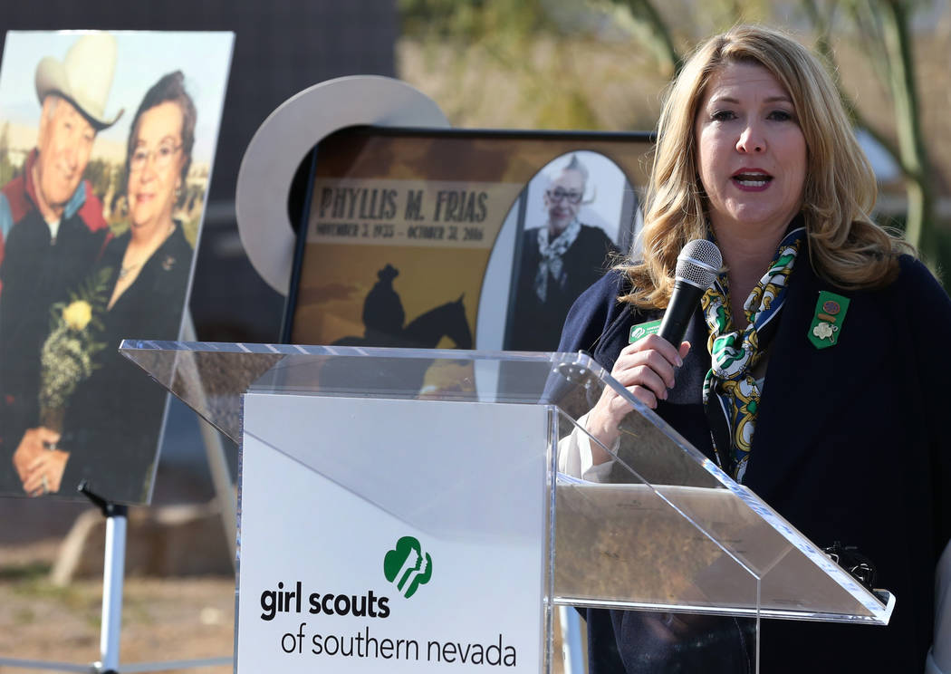 Kimberly Trueba, CEO, Girl Scouts of Nevada, speaks during a press conference on Tuesday, Dec, 18, 2018, in Las Vegas where John Mowbray, not photographed, trustee of the Charles and Phyllis M. Fr ...