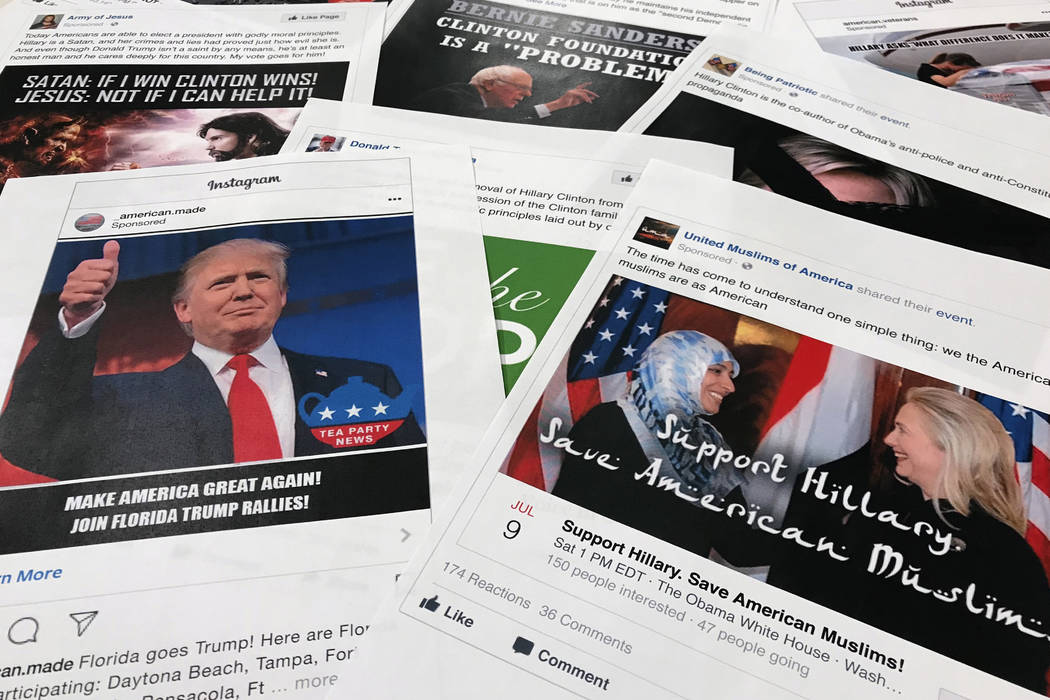 Some of the Facebook and Instagram ads linked to a Russian effort to disrupt the American political process and stir up tensions around divisive social issues, released by members of the U.S. Hous ...