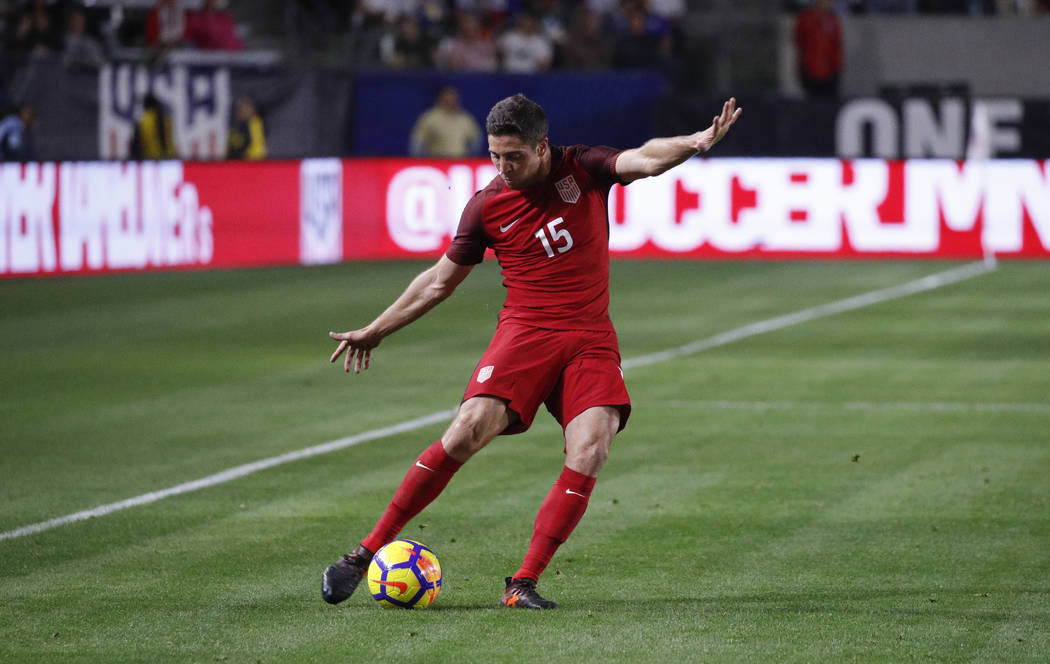 United States defender Matt Polster kicks the ball during the second half of an international friendly soccer match against Bosnia and Herzegovina Sunday, Jan. 28, 2018, in Carson, Calif. The game ...