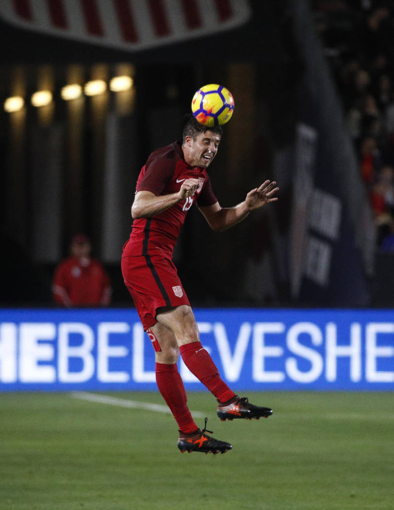 United States defender Matt Polster heads the ball during the second half of an international friendly soccer match against Bosnia and Herzegovina Sunday, Jan. 28, 2018, in Carson, Calif. The game ...