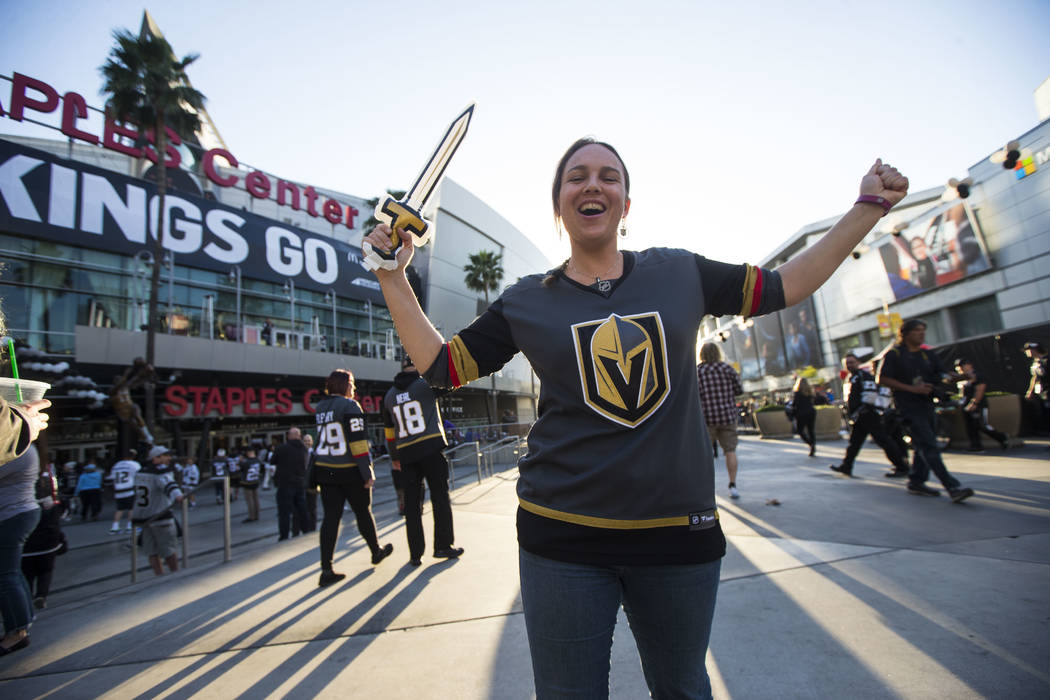 Golden Knights fan Dee Dravnieks of Perth, Australia, poses for a photo outside of the Staples Center before attending Game 4 of an NHL hockey first-round playoff series against the Los Angeles Ki ...