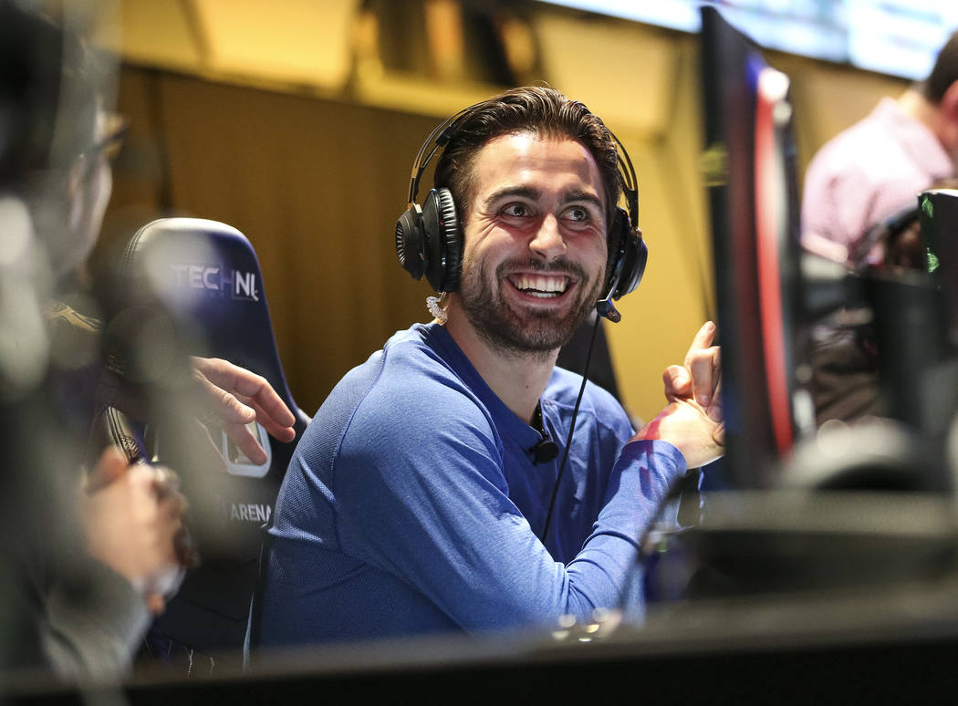 """Vegas Golden Knights right wing Alex Tuch plays """"Fortnite"""" with fans at the HyperX Esports Arena inside the Luxor in Las Vegas on Tuesday, Dec. 18, 2018. Richard Brian Las Vegas Review-J ..."""
