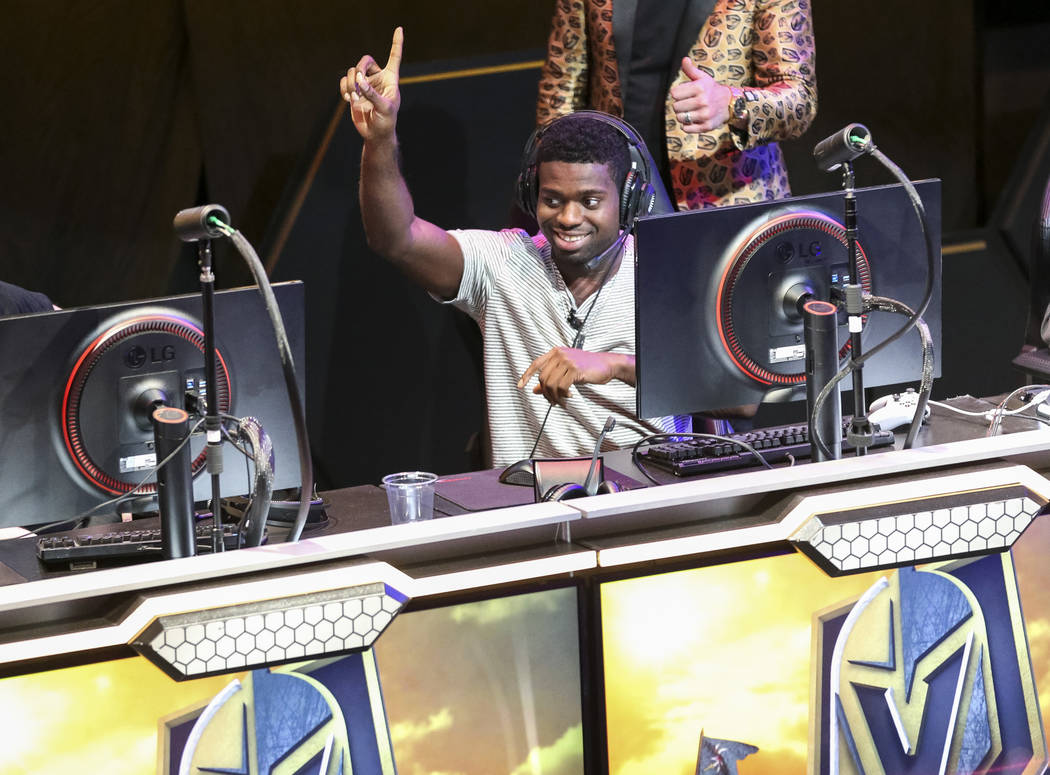 "Vegas Golden Knights goaltender Malcolm Subban reacts while playing ""Fortnite"" with fans at the HyperX Esports Arena inside the Luxor in Las Vegas on Tuesday, Dec. 18, 2018. Richard Bria ..."