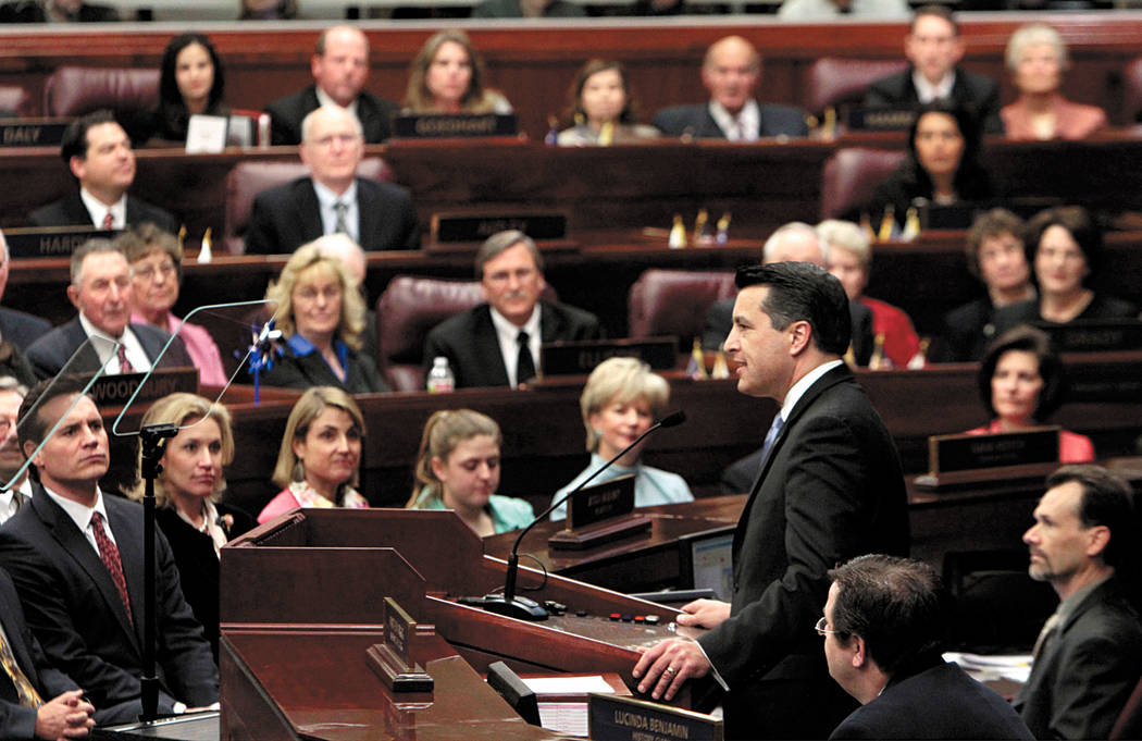 Gov. Brian Sandoval gives his first State of the State address before a joint session of the Nevada Legislature in Carson City, Nev. Monday Jan. 24, 2011. (AP Photo/Rich Pedroncelli) Rich Pedro ...