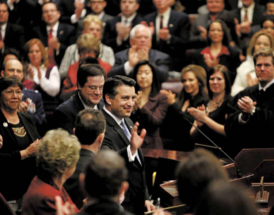 Gov. Brian Sandoval begins his State of the State address in the Legislature in Carson City, Nev. Monday, Jan. 24, 2011. John Locher Las Vegas Review-Journal