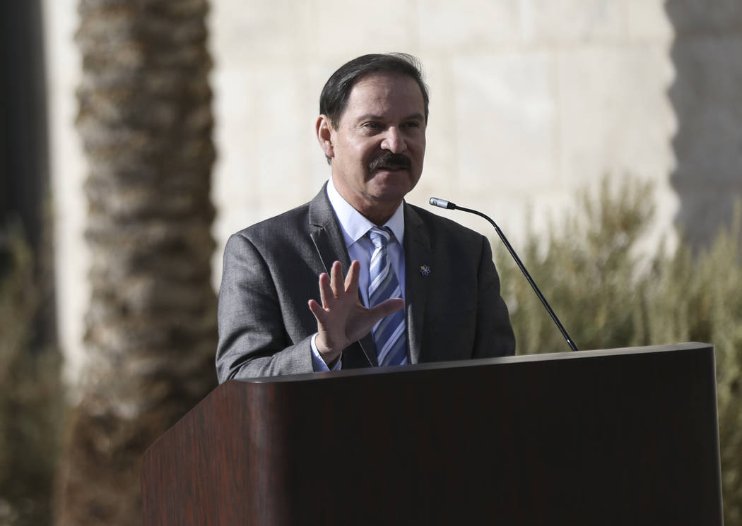 College of Southern Nevada president Federico Zaragoza speaks during a topping off ceremony of the student union building at the CSN North Las Vegas campus on Tuesday, Dec. 18, 2018. Chase Stevens ...