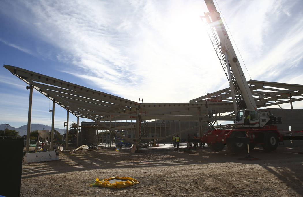 A view of the student union building under construction after the topping off ceremony at the College of Southern Nevada North Las Vegas campus on Tuesday, Dec. 18, 2018. Chase Stevens Las Vegas R ...