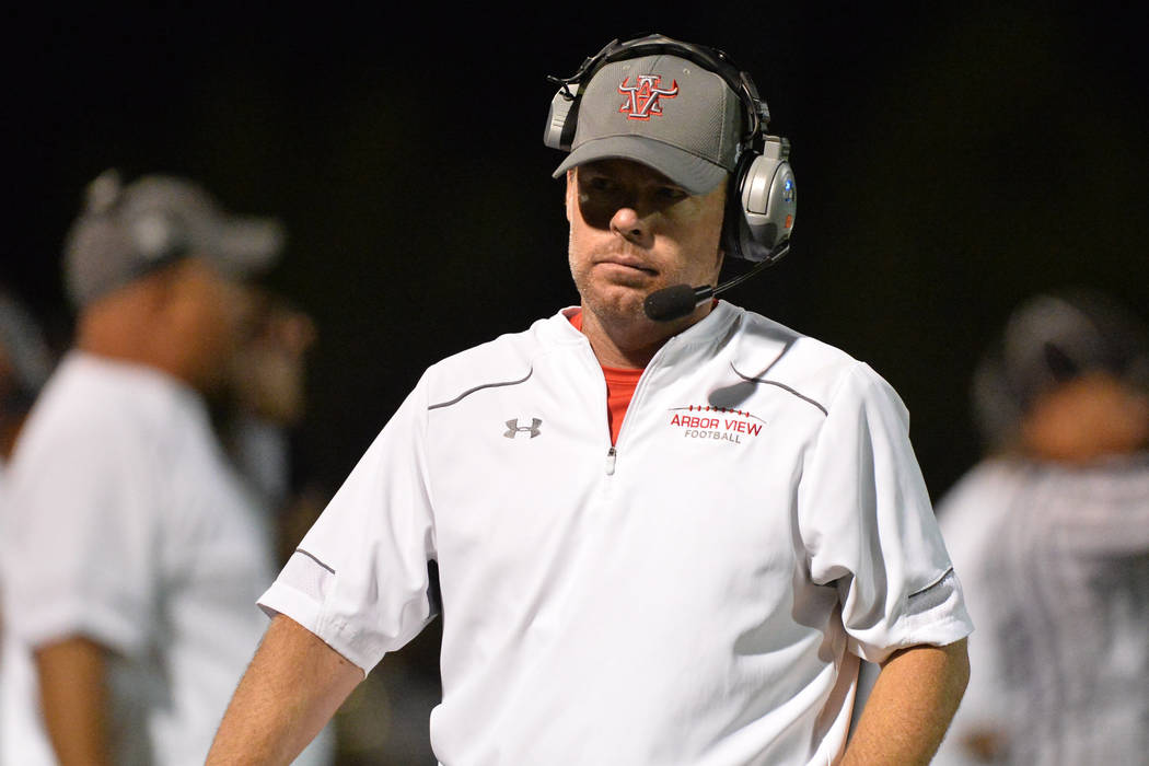 Arbor view head coach Dan Barnson. Brett Le Blanc/Las Vegas Review-Journal Follow @bleblancphoto