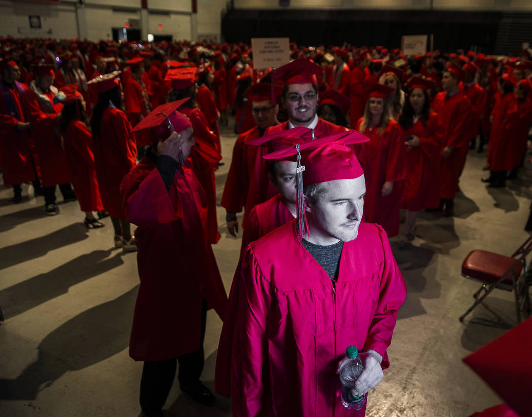 Students file out of Cox Pavilion before the start of UNLV's winter graduation ceremony on Tuesday, Dec. 18, 2018, in Las Vegas. Benjamin Hager Las Vegas Review-Journal
