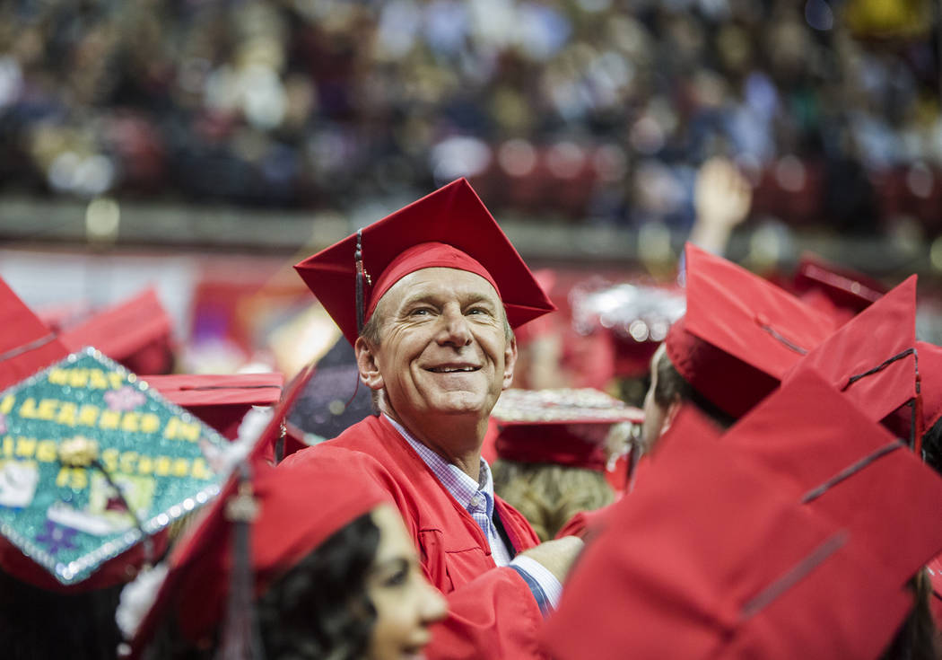 Daniel Stock smiles into the crowd after earning his Anthropology degree during UNLV's winter graduation ceremony on Tuesday, Dec. 18, 2018, at the Thomas & Mack Center, in Las Vegas. Benjamin ...