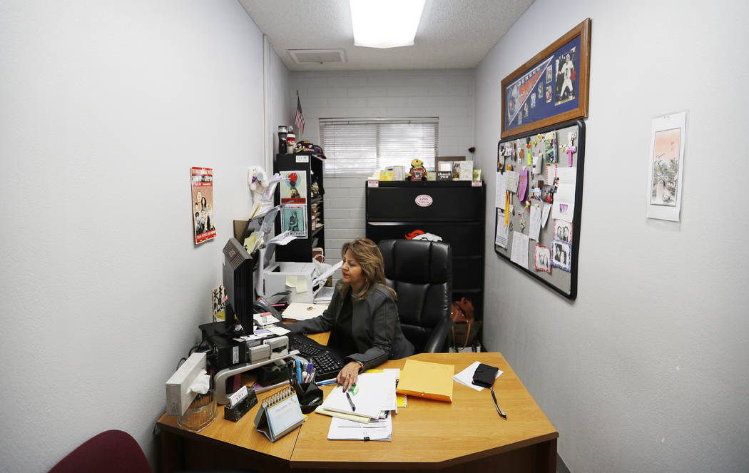 """Beatrice """"Bea"""" Angela Duran works in her office at the Culinary Union, Tuesday, Dec. 18, 2018, in Las Vegas. Nevada became the first state in the U.S. with an overall female majority in ..."""