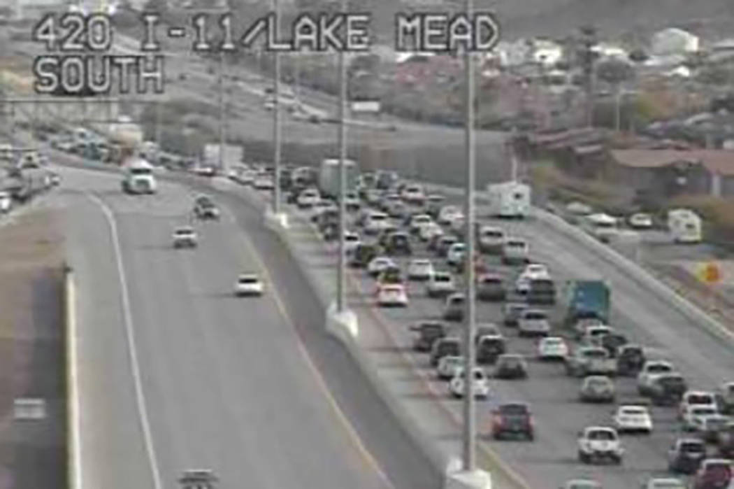 Heavy traffic along a stretch of Interstate 515 southbound has been a mainstay Tuesday Dec. 18, 2018, as motorist struggle to navigate the new 215 Beltway offramp configuration in Henderson. (Regi ...