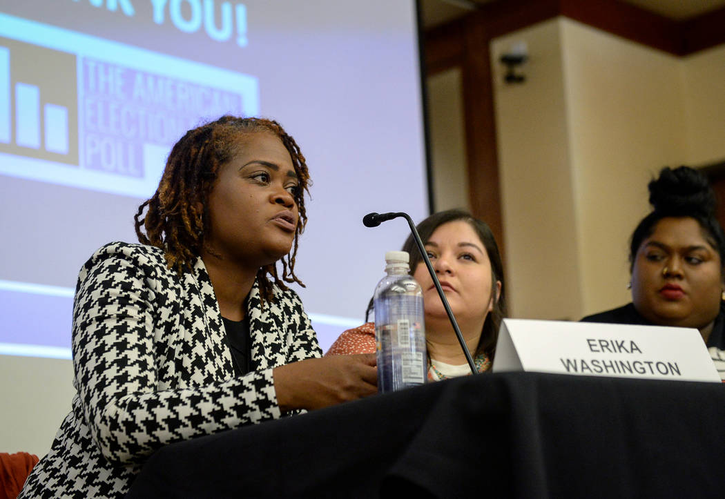 Erika Washington discusses the impact of the results of the recent midterm elections at the William S. Boyd School of Law at UNLV in Las Vegas, Tuesday, Dec. 18, 2018. Caroline Brehman/Las Vegas R ...