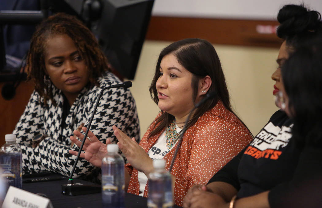 Raquel Cruz-Juarez discusses the impact of the results of the recent midterm elections at the William S. Boyd School of Law at UNLV in Las Vegas, Tuesday, Dec. 18, 2018. Caroline Brehman/Las Vegas ...