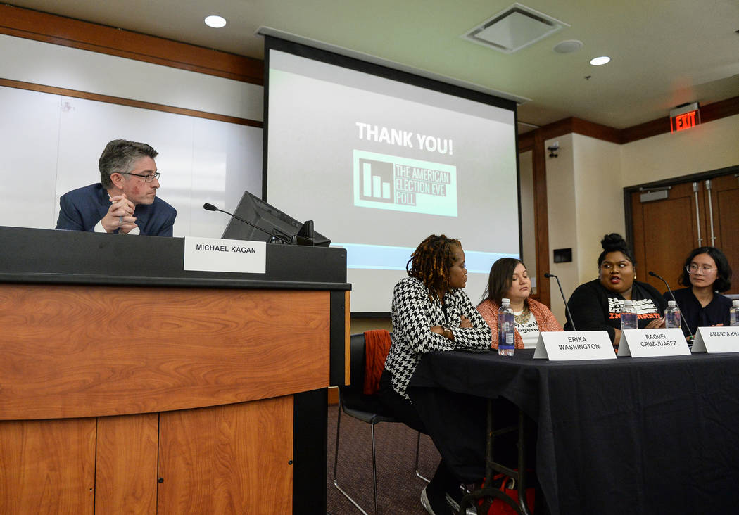 A panel is held to discuss the impact on the results of the recent midterm elections at the William S. Boyd School of Law at UNLV in Las Vegas, Tuesday, Dec. 18, 2018. Caroline Brehman/Las Vegas R ...