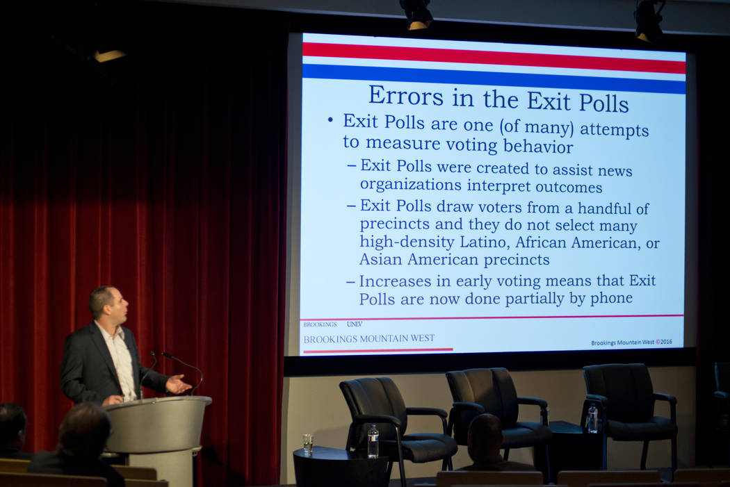 UNLV Professor David Damore speaks during a post-election analysis of voter trends at UNLV in Las Vegas in this file photo. Daniel Clark/Las Vegas Review-Journal