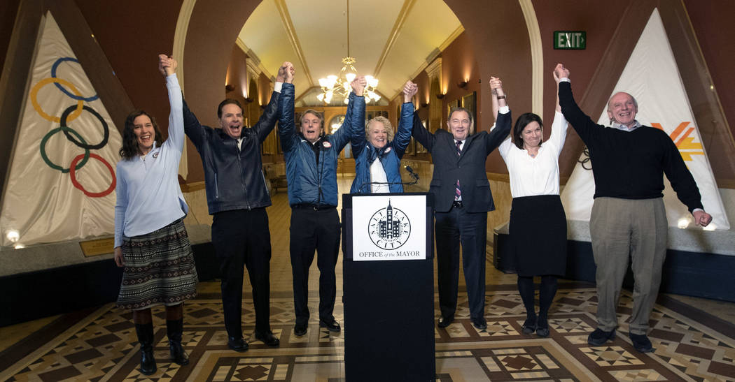 Salt Lake City Council Chairwoman Erin Mendenhall, Fraser Bullock, chief operating officer of the 2002 Winter Games, Jeff Robbins, president and CEO of the Utah Sports Commission, Salt Lake City M ...