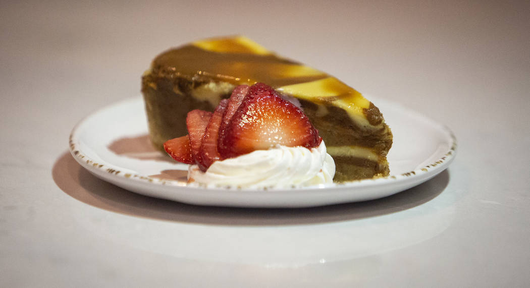 Salted caramel cheesecake is one of the items served at Regal's Cinebarre, Palace Station's new movie theater, in Las Vegas, Tuesday, Dec. 18, 2018. Caroline Brehman/Las Vegas Review-Journal in La ...