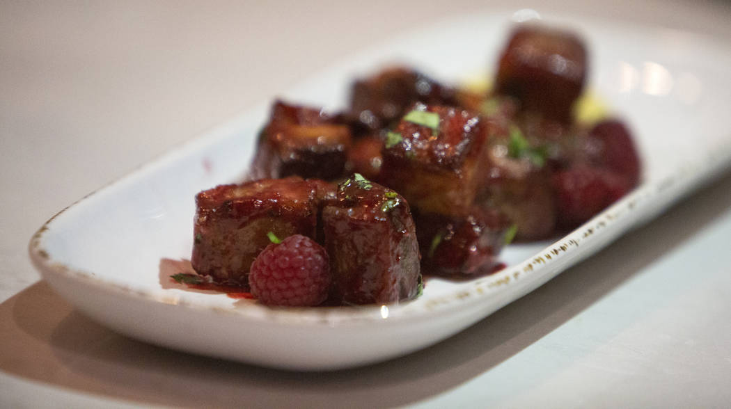 Raspberry chipotle pork belly bites are one of the items served at Regal's Cinebarre, Palace Station's new movie theater, in Las Vegas, Tuesday, Dec. 18, 2018. Caroline Brehman/Las Vegas Review-Jo ...