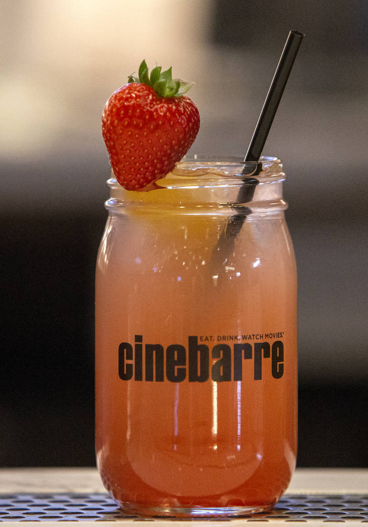 A strawberry spiked lemonade is one of the items served at Regal's Cinebarre, Palace Station's new movie theater, in Las Vegas, Tuesday, Dec. 18, 2018. Caroline Brehman/Las Vegas Review-Journal in ...