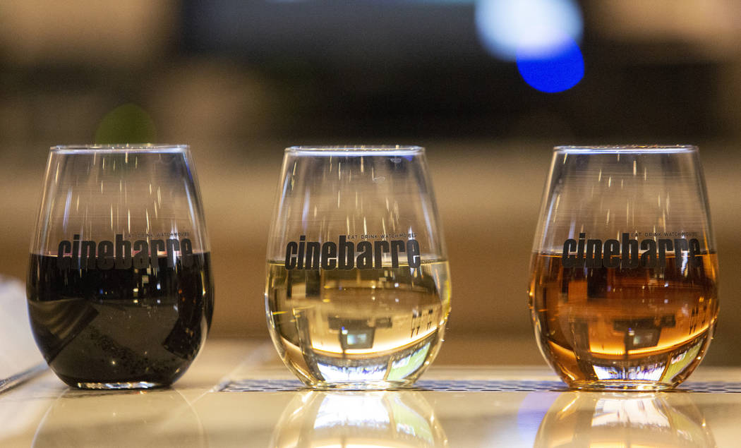 A selection of wines are available at Regal's Cinebarre, Palace Station's new movie theater, in Las Vegas, Tuesday, Dec. 18, 2018. Caroline Brehman/Las Vegas Review-Journal in Las Vegas, Tuesday, ...