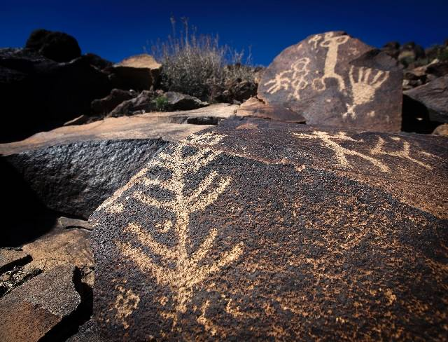 Rock art decorates a hillside at Sloan Canyon National Conservation Area south of Henderson. More than a decade after its creation, the federal preserve remains relatively obscure and hard to reach.