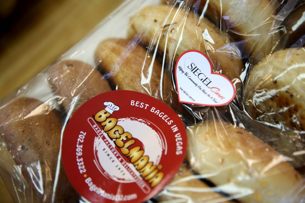 A donation at Bagelmania in Las Vegas Friday, Dec. 14, 2018. Mark Lenoir, community relations for The Siegel Group, took the bagels to residents at Siegel Suites Twain II. The donation is part of ...