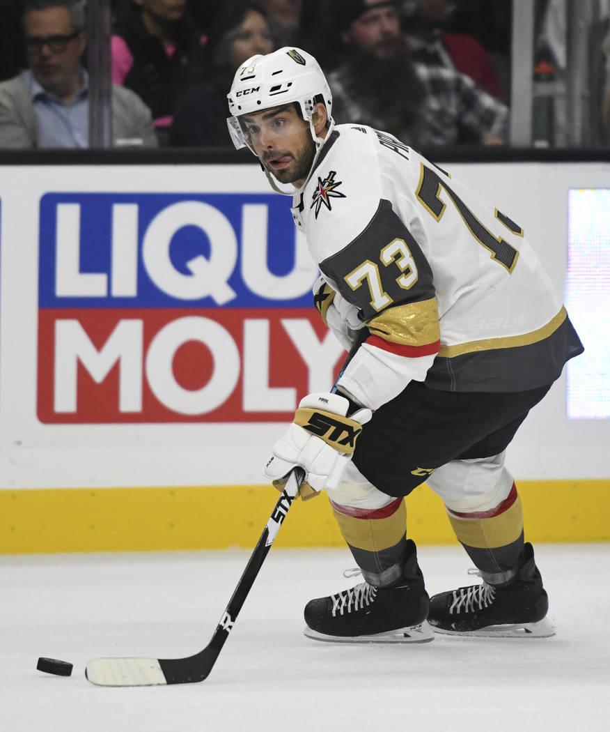 Vegas Golden Knights center Brandon Pirri (73) advances the puck against the Los Angeles Kings during a preseason NHL hockey game, Thursday, Sept. 20, 2018, in Los Angeles. (AP Photo/Michael Owen ...