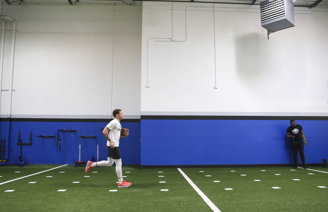 Former Desert Pines wide receiver Jaden Mitchell works out at Game Changers Sports in Las Vegas the morning after signing his letter of intent with Arizona on Wednesday, Dec. 19, 2018. Mitchell to ...
