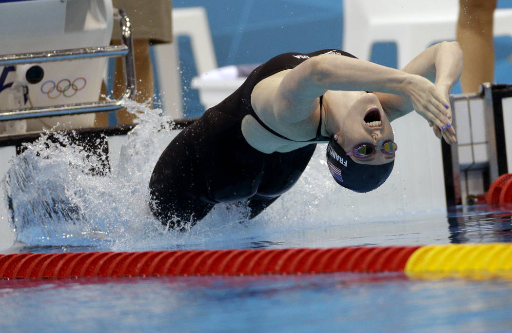In this Aug. 3, 2012, file photo, United States' Missy Franklin starts in the women's 200-meter backstroke final at the Aquatics Centre in the Olympic Park during the 2012 Summer Olympics in Londo ...