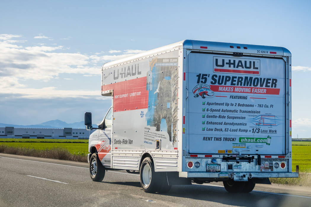 A U-Haul truck is seen driving on a highway. (Getty Images)