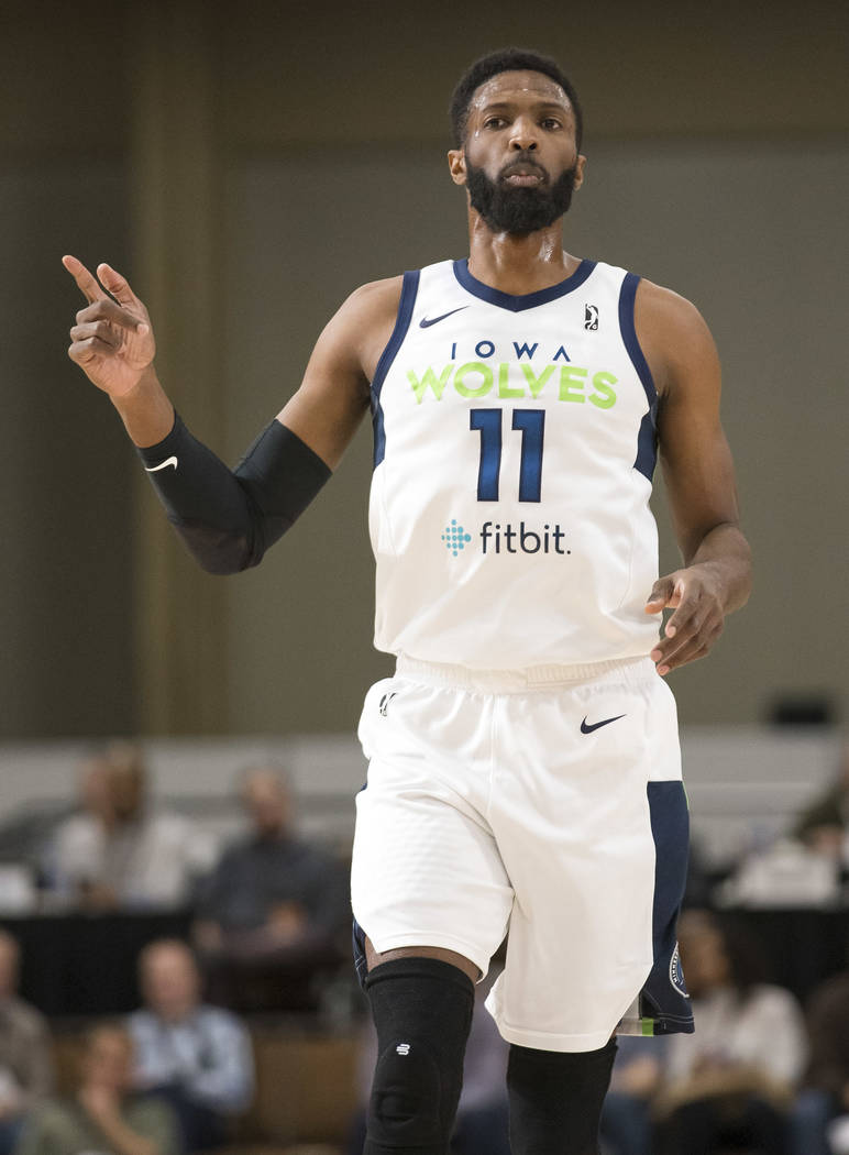 Iowa Wolves center Hakim Warrick (11) in action against the Westchester Knicks during the first half of an NBA G League Winter Showcase basketball game at the Mandalay Bay Convention Center in Las ...