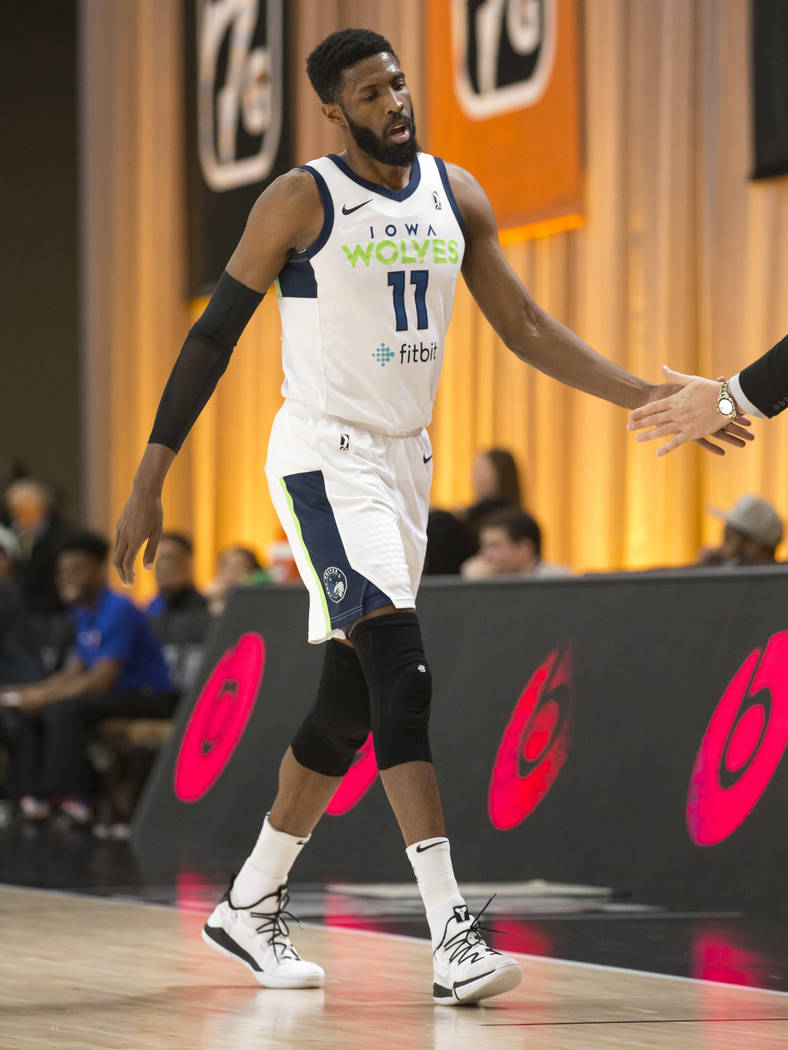 Iowa Wolves center Hakim Warrick (11) comes off the court during the first half of an NBA G League Winter Showcase basketball game against the Westchester Knicks at the Mandalay Bay Convention Cen ...