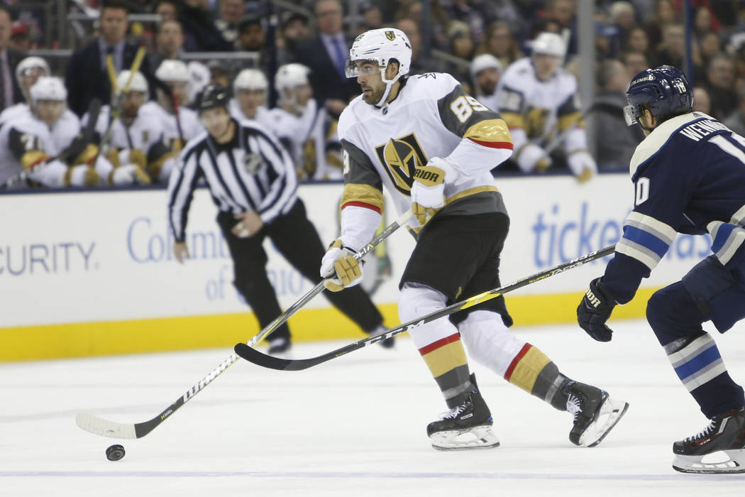 Vegas Golden Knights' Alex Tuch plays against the Columbus Blue Jackets during an NHL hockey game Monday, Dec. 17, 2018, in Columbus, Ohio. (AP Photo/Jay LaPrete)