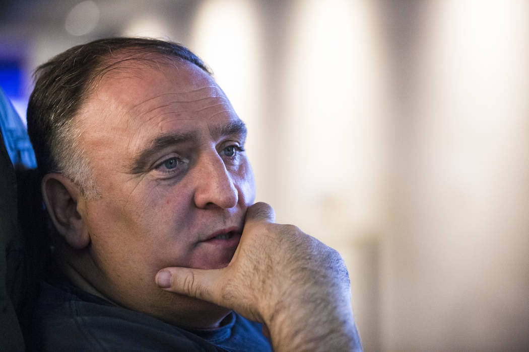 Chef Jose Andres talks about the menu of items that will be served at the new Esports Arena at the Luxor in Las Vegas on Thursday, March 22, 2018. Andres' ThinkFoodGroup partnered with Allied Espo ...