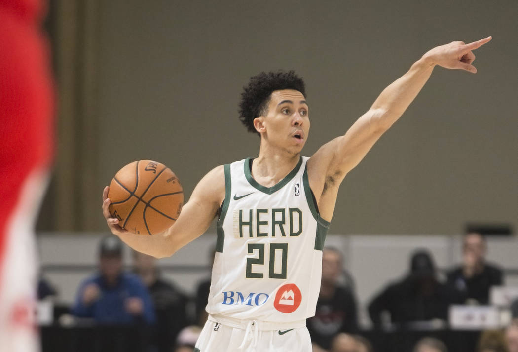 Wisconsin Herd guard Travis Trice (20) calls out a play in the first quarter during his G League game with the Memphis Hustle at the Mandalay Bay Convention Center on Thursday, Dec. 20, 2018, in L ...