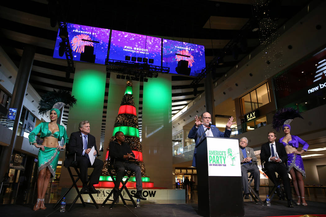 Fireworks by Grucci President, CEO and Creative Director Phil Grucci speaks during the Las Vegas Convention and Visitors Authority news conference at the Fashion Show Mall in Las Vegas Thursday, D ...