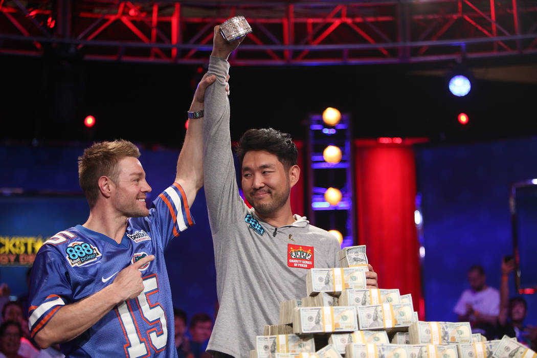 Tony Miles and John Cynn after Cynn won the World Series of Poker tournament in Las Vegas, Sunday, July 15, 2018. Rachel Aston Las Vegas Review-Journal @rookie__rae